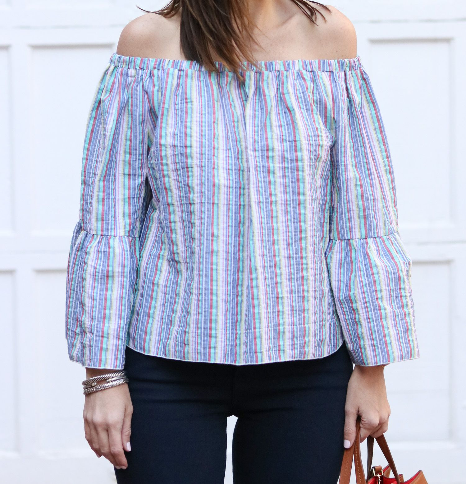 515d9995e139e Striped Off the Shoulder Top  cobaltchronicle