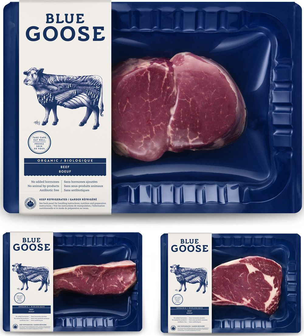 new logo identity and packaging for blue goose pure