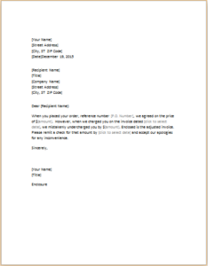 Letter Correcting Invoice That Underchaged Download At HttpWww