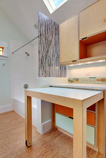 Pull Out Desk Counter Work Tables Modern Laundry Room By Kerf Design