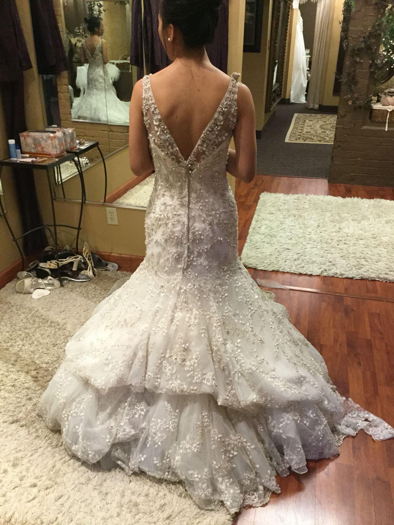 French Bustle Style Wedding Dress Bustle Wedding Gowns Mermaid Romantic Dress