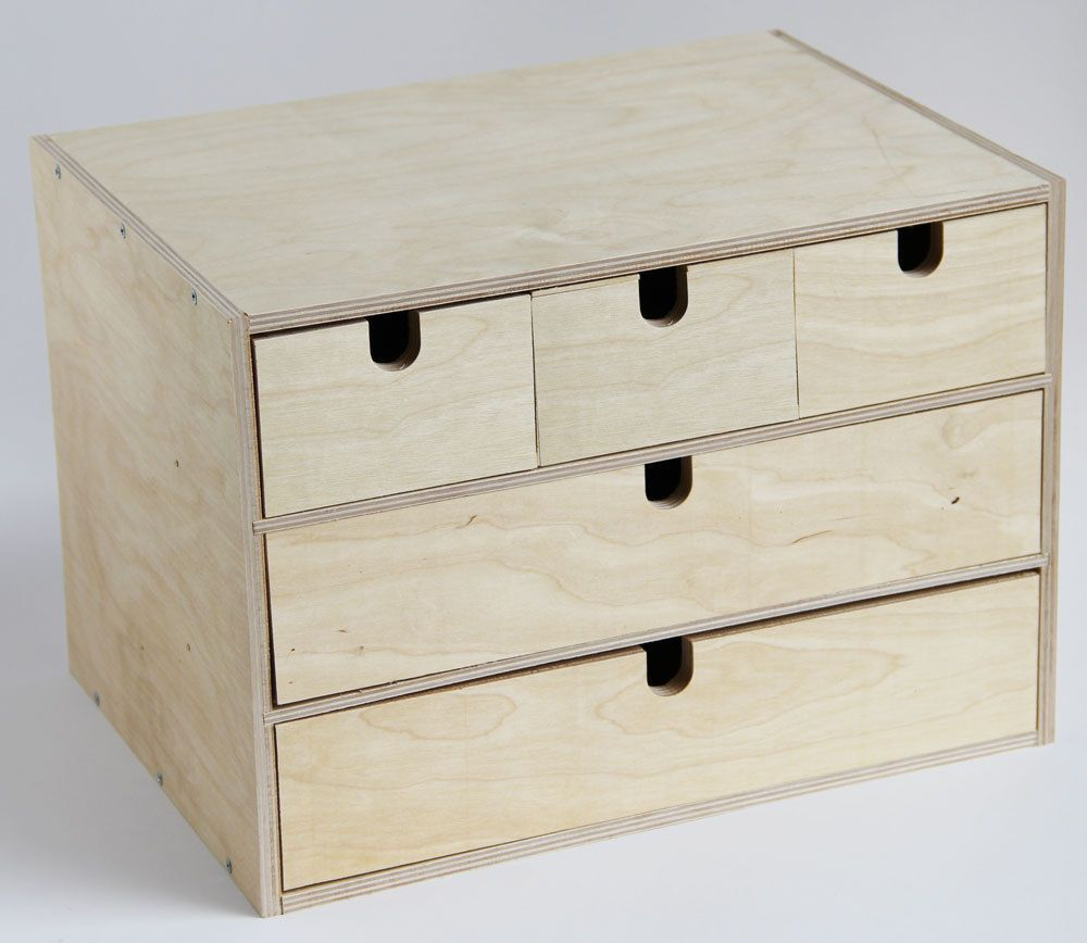 Ikea fira birch wooden storage chest box with drawers