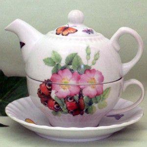 Fielder Keepsakes Pink butterfly Tea for One - The Teapot Shoppe, Inc.