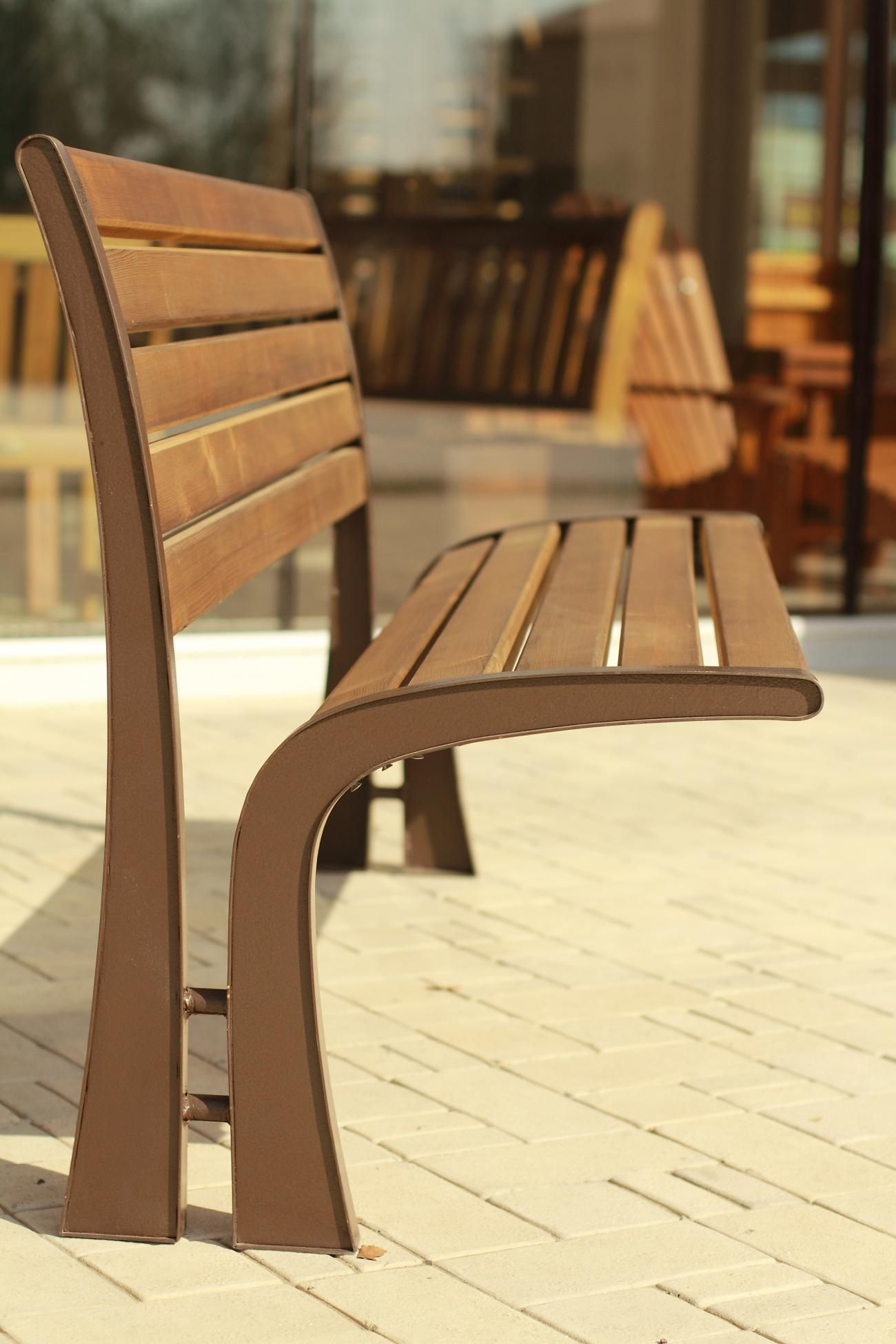VICTORIA garden bench modern metal with wood   Urban