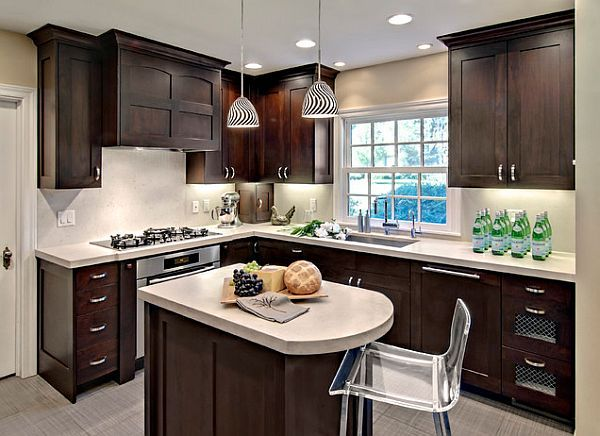 Small Kitchen Remodeling With Modern Dark Brown And Caesarstone