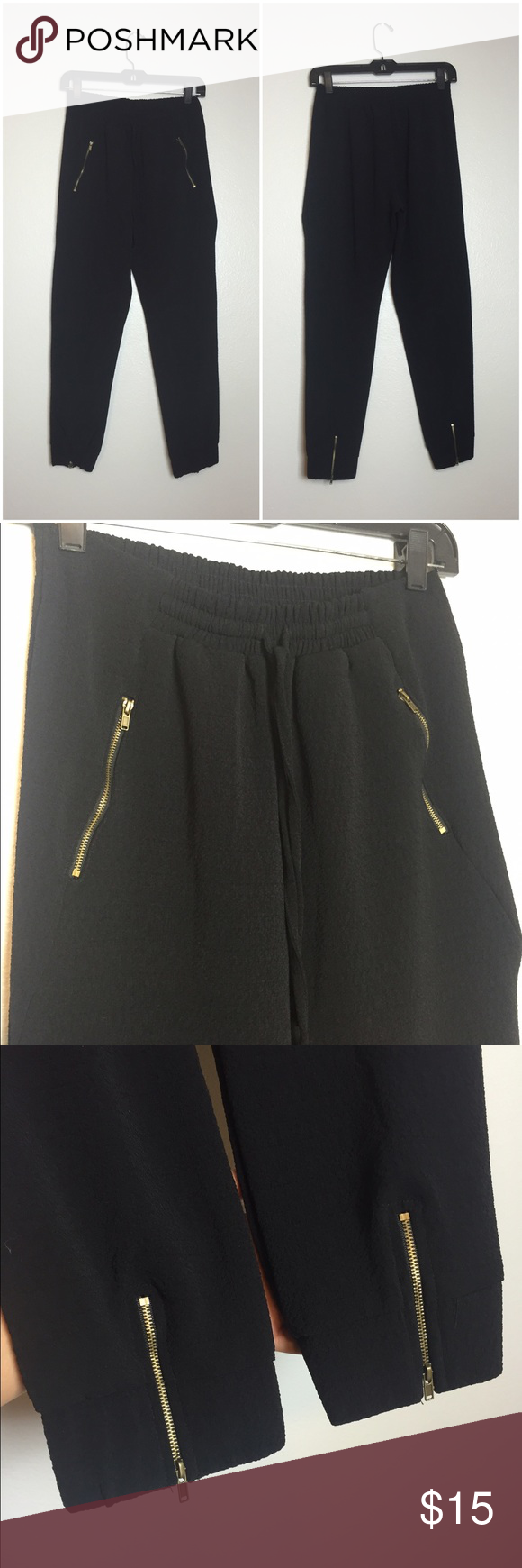 Dressy Joggers These aren't you're casual jogger sweats. The material is more pants-like and has two front zipper pockets and two zippers on the back ankles. Never worn. Price negotiable. TJ Maxx Pants
