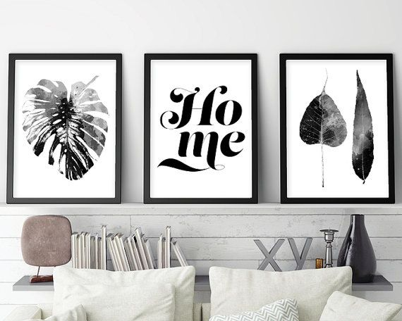 Set of 3 prints scandinavian set 3 scandinavian print set monstera black white scandinavian modern print set downloadable printable