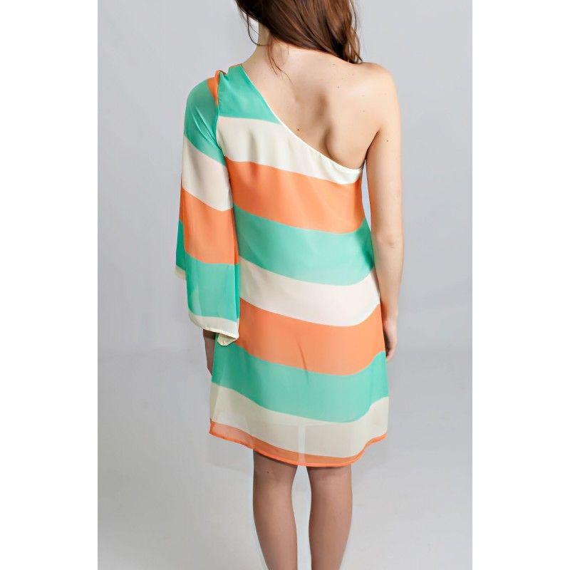 Sunset Tide One Shoulder Dress