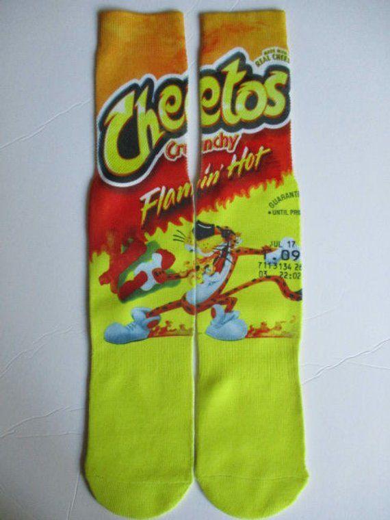 b2811b7559f hot cheetos socks buy any 3 pairs get the 4th pair free novelty footwear flamin  hot cheetos adult si