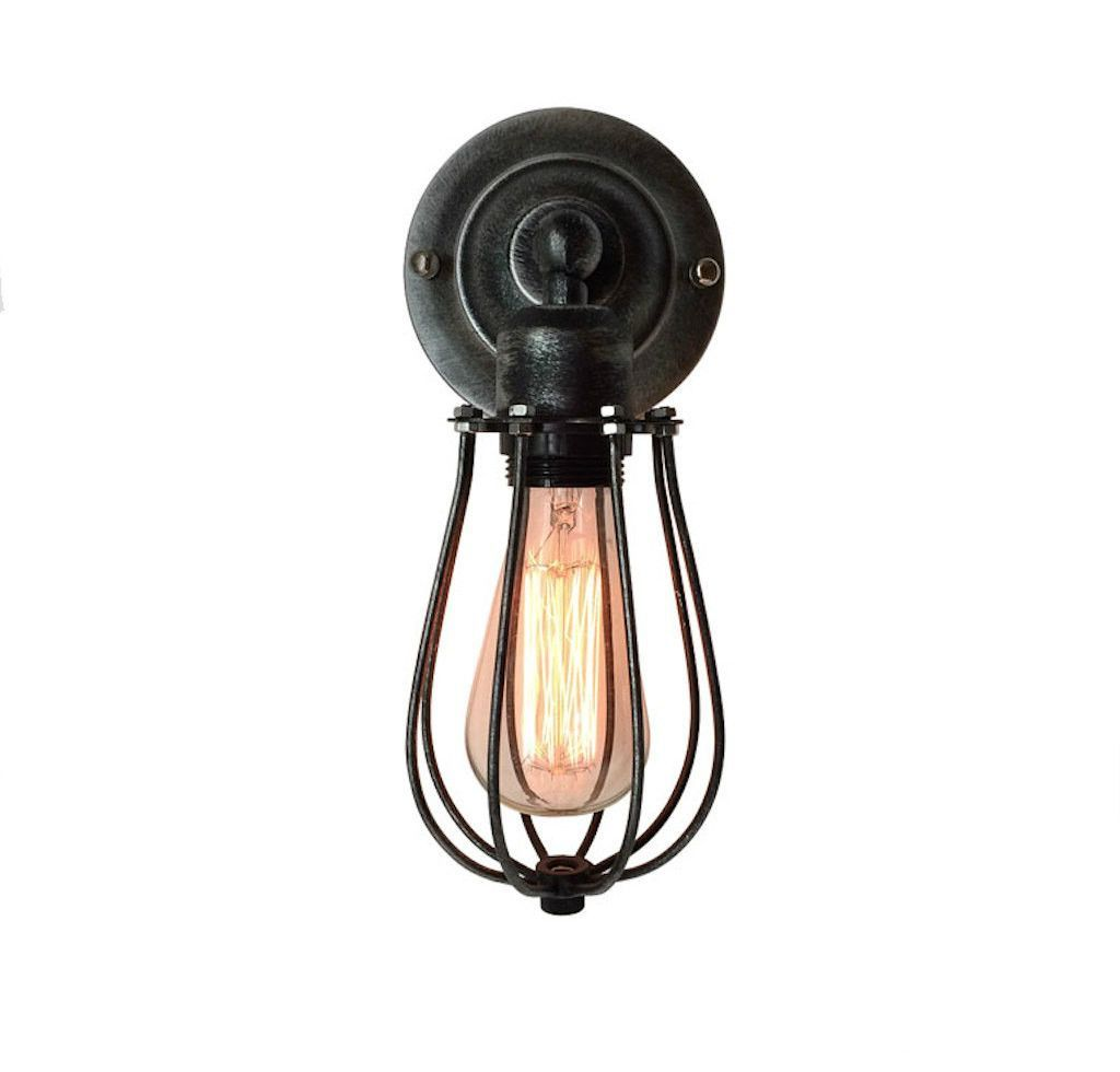 Industrial cage light wall sconce new retro wall lamp downside industrial cage light wall sconce new retro wall lamp downside hallway wall light living aloadofball Choice Image