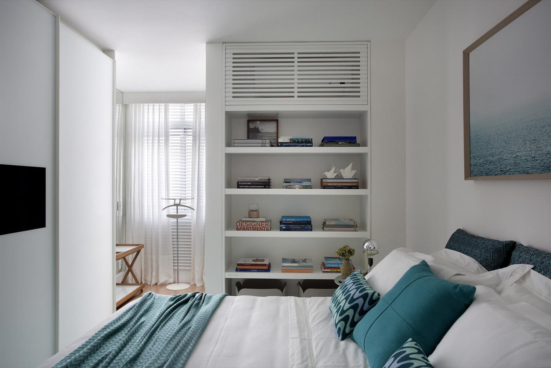 Apartamento La Galeria Da Arquitetura Ideias Para A Casa  ~ Quarto De Casal Azul E Ar Condicionado Quarto