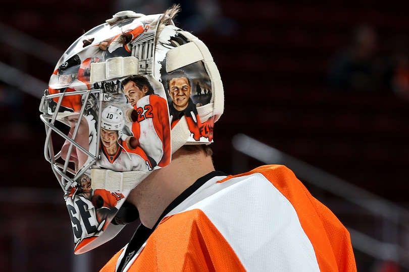 Steve Mason 35 of the Philadelphia Flyers Goalie mask