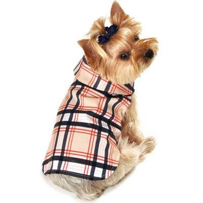 Weatherproof Dog Raincoat Tan Plaid Fancy Dog Clothes At Glamourmutt Com Fancy Dog Clothes Dog Raincoat Dog Boutique