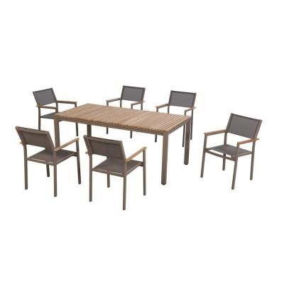 Hampton Bay Barnsdale Teak 7 Piece Patio Dining Set