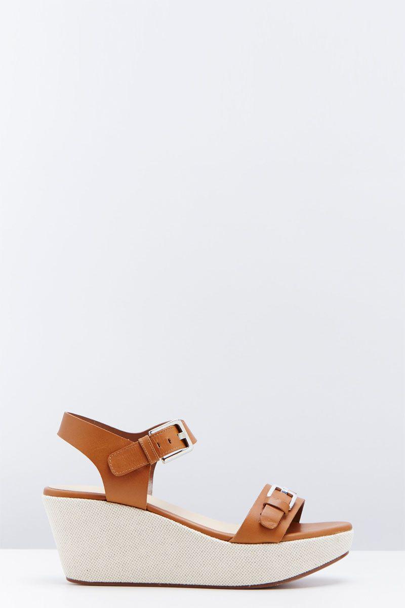 Venda Accessoire Diffusion / 24753 / Sandálias de cunha / Sandálias cunha couro Gipsy Castanho