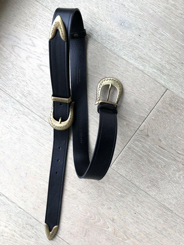 Alberta ferretti leather belt size 32 34 inch waist