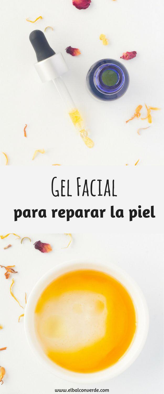 Como hacer un Gel Facial para reparar la piel dañada is part of Diy facial - Te enseño como hacer un Gel Facial para reparar la piel dañada  Te explico como hacer una receta casera de crema para conseguir que la piel estropeada de tu cara esté bonita