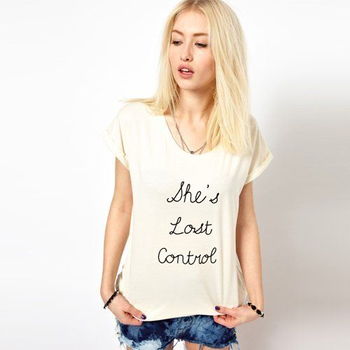 Fashionable She's lost control Letters Printed Short-sleeved T-shirt - stylishplus.com