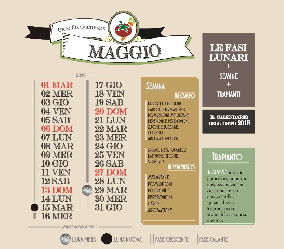Calendario Lunare Per Semina.Cosa Seminare A Maggio Calendario Dell Orto Calendario
