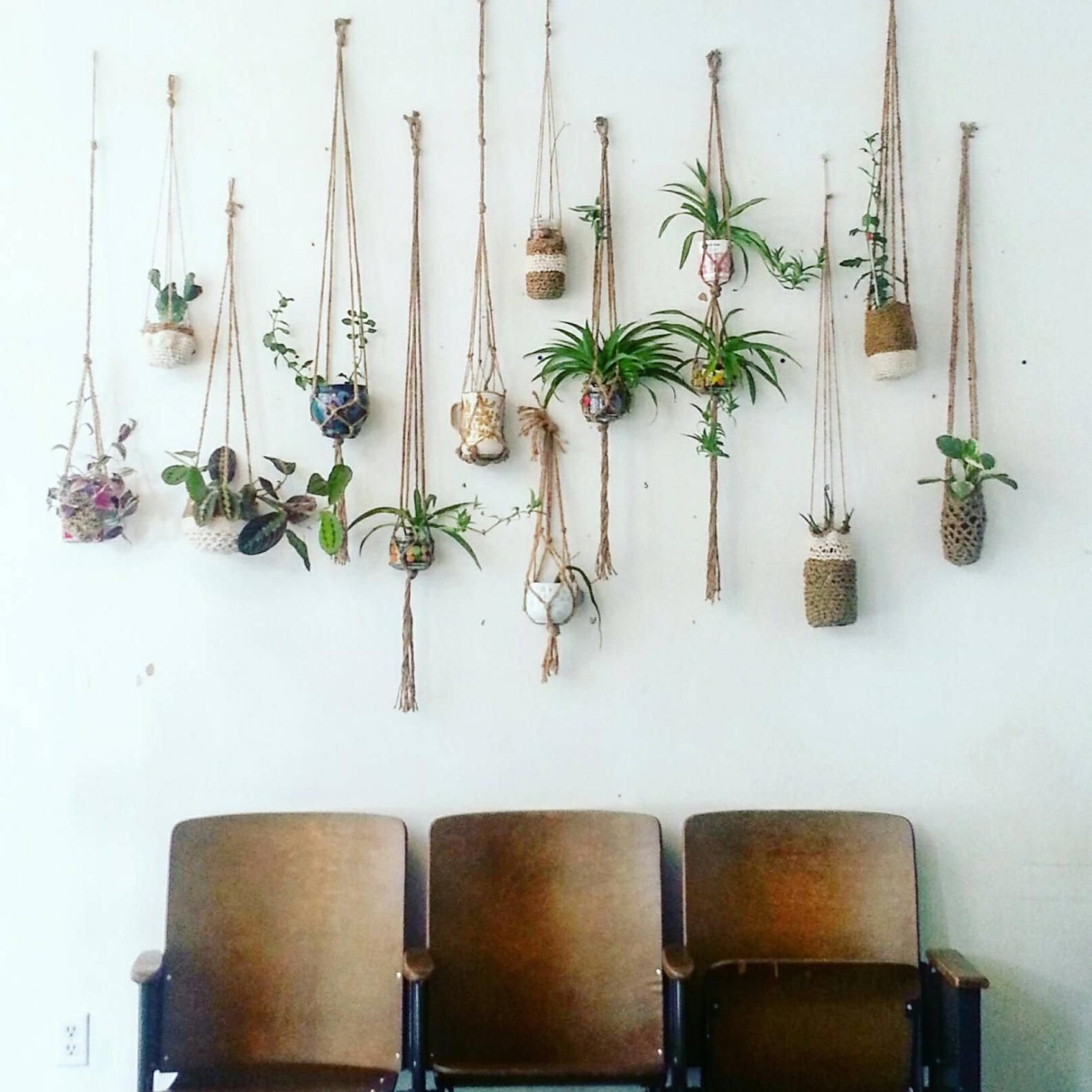 Custom natural jute double hanging planter wall accent