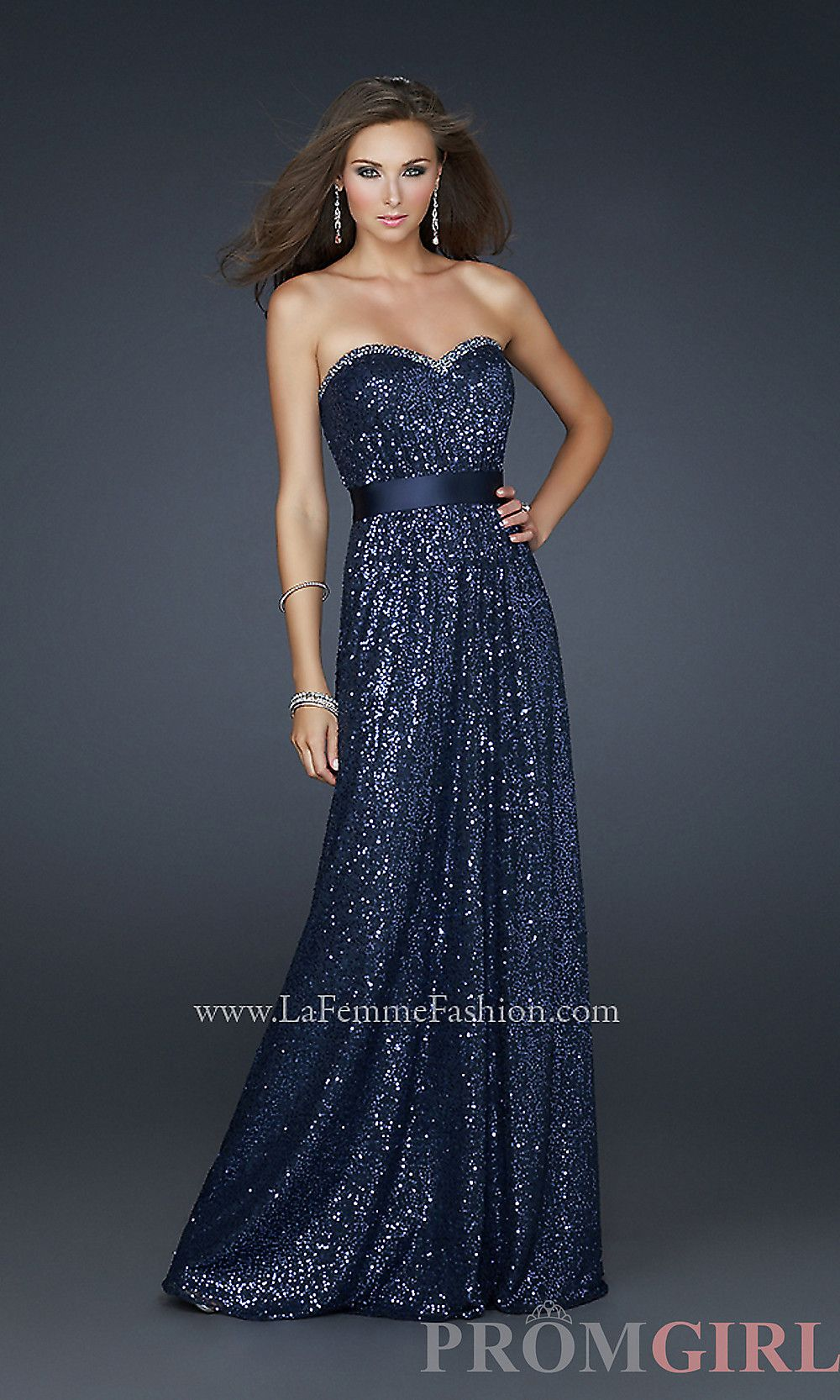 Strapless sequin prom gown by la femme if i just had a better body
