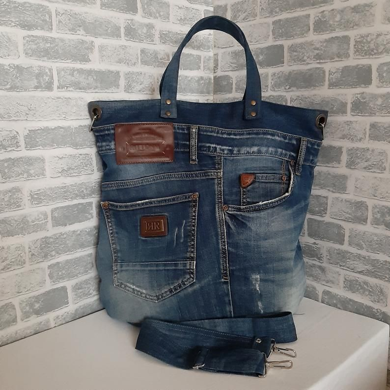 Denim tote bag, Jean unisex large bag, Casual bag of jeans