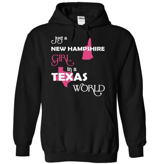 (NewHampshire001) Just A New Hampshire Girl In A Texas  - #unique gift #baby gift. CHECK PRICE => https://www.sunfrog.com/Valentines/-28NewHampshire001-29-Just-A-New-Hampshire-Girl-In-A-Texas-World-Black-Hoodie.html?68278