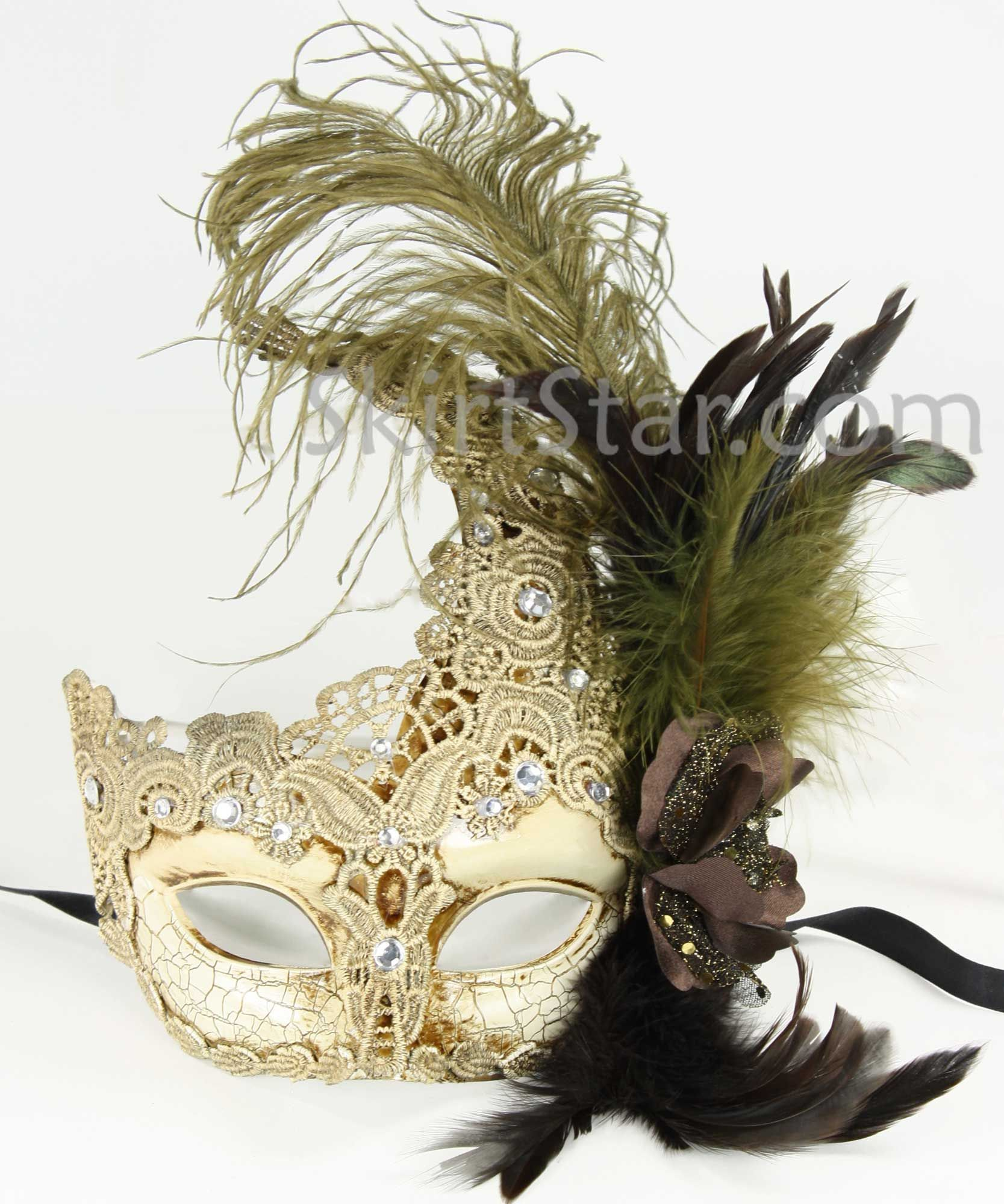 Venetian mask crystals antique white masquerade ball fancy dress