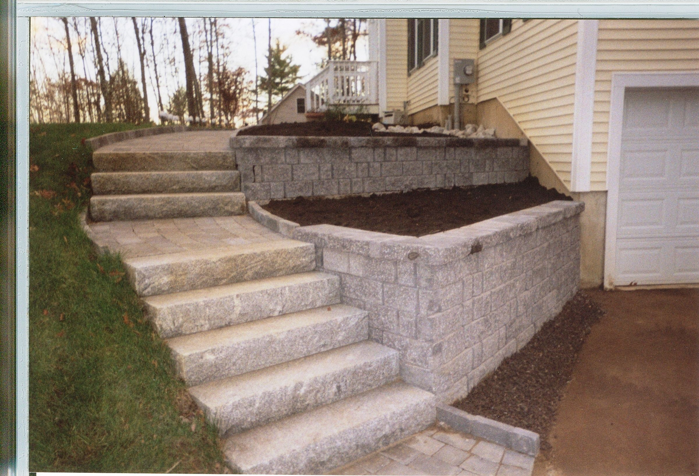 Granite Steps And Retaining Wall Landscaping Retaining Walls Garden Stairs Gazebo With Fire Pit