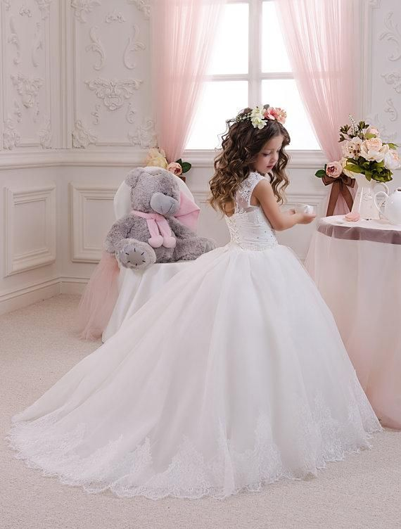 2016 Hot Sale White Ivory Flower Girl Dress Wedding Party Holiday