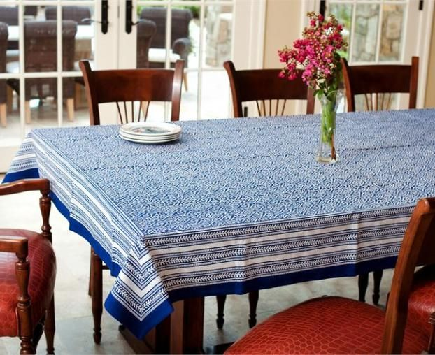 Block Print Tablecloth 70 X 108 Jaipur Blue Fair Trade Winds Blue Tablecloth Table Cloth Living Room Pictures