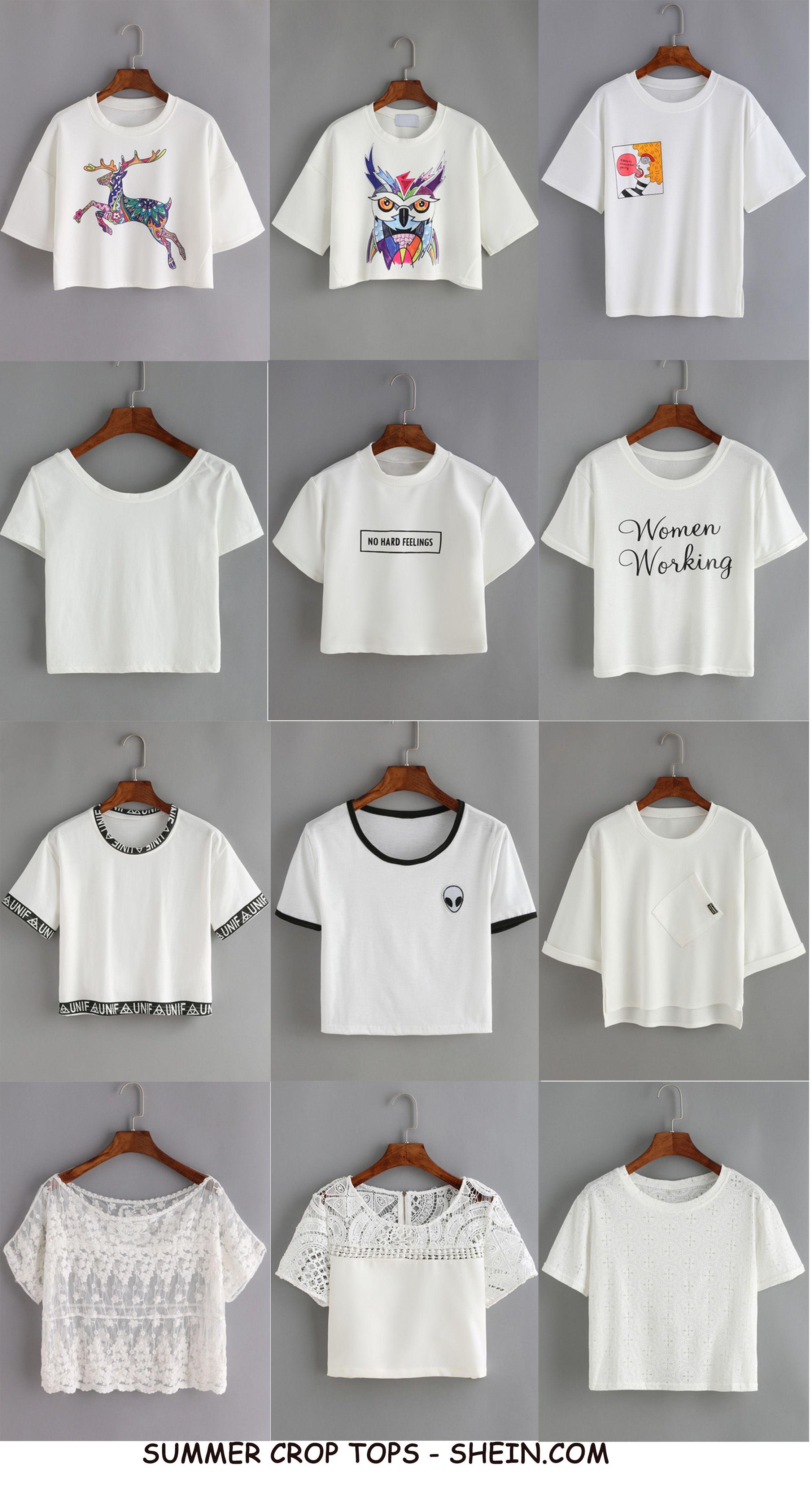 2ea4d5ef48 White Crop Tees - SheIn | Summer Summary | Fashion, Fashion outfits ...