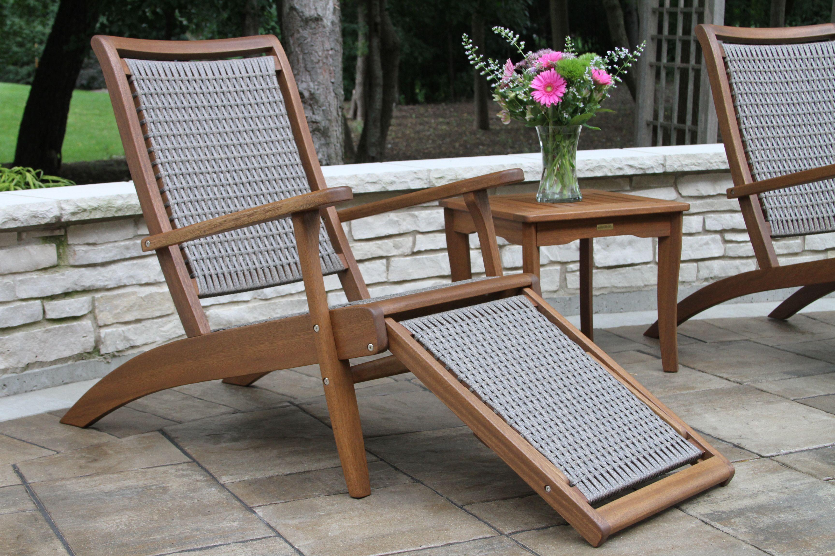 Wicker u eucalyptus lounger with stowaway sliding ottoman outdoor