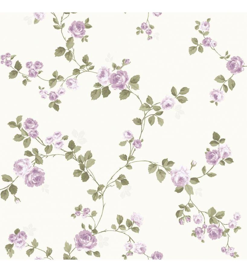 Papel pintado flores vintage peque as violetas fondo claro - Papel pintado vintage ...
