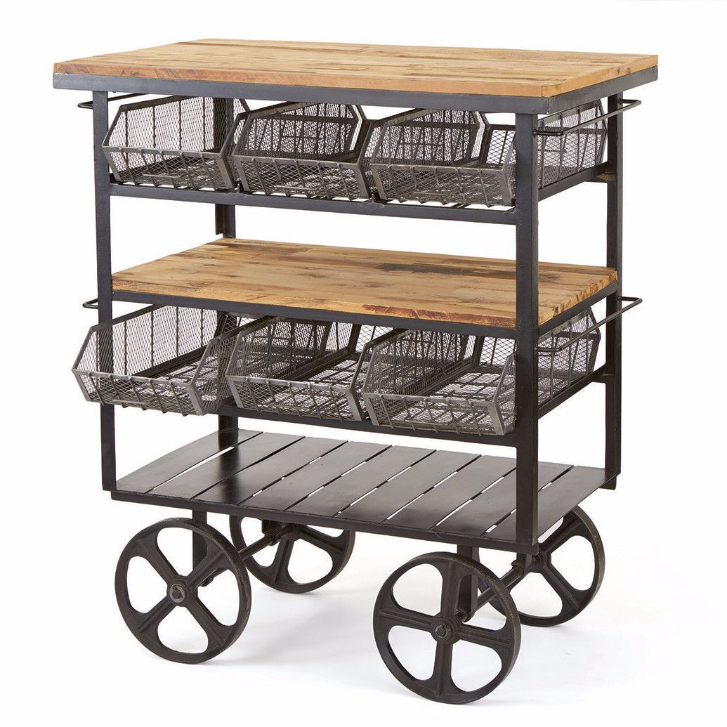This Beautifully Designed Delicatessen Cart Has Wooden Tables With Metal  For That Added Look And Support