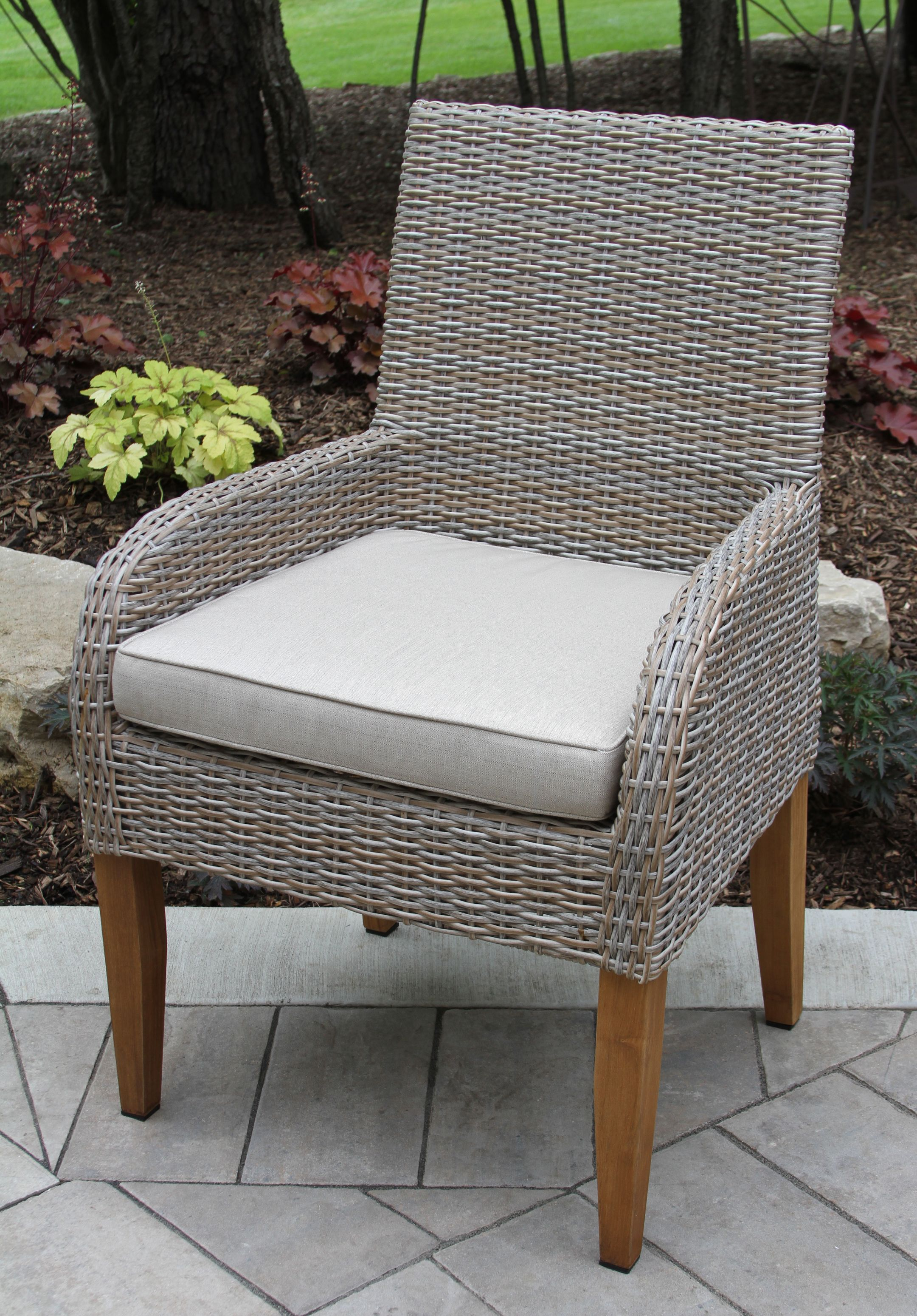 All weather wicker teak dining chair with sunbrella cushion 2 pack