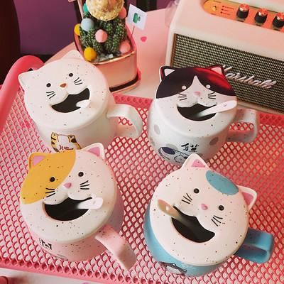 Harajuku Cartoon Cute Creative Mug Cup Coffee Cup Cat Cup (with Lid With  Spoon)