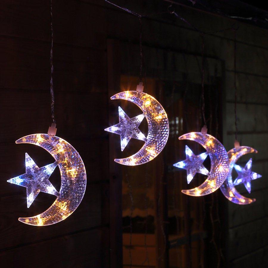 Lichterkette f r weihnachten mit 5 halbmonden und stern - Fensterbeleuchtung weihnachten ...