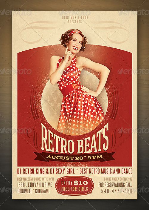 Weekly Top Fancy Retro Beats Flyer PSD Template – Retro Flyer Templates