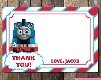 PRINTABLE Thomas The Train Blank Thank You Card Thomas The Train - Birthday invitation card thomas and friends