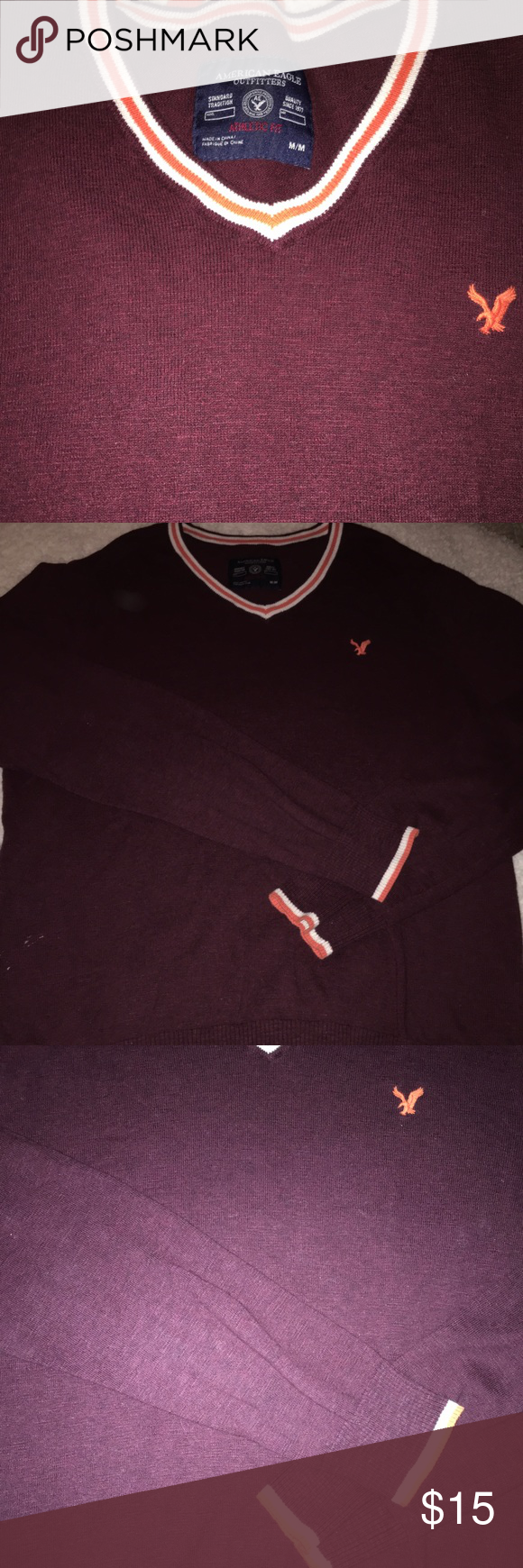 American Eagle mens sweater. Medium Mens American Eagle Outfitters sweater. Gently used, great condition. Maroon color with orange and white trim. American Eagle Outfitters Sweaters V-Neck