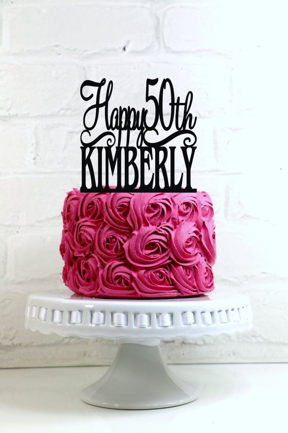 Magnificent Happy 50Th Birthday Cake Topper Personalized With By Shopthetop Personalised Birthday Cards Veneteletsinfo