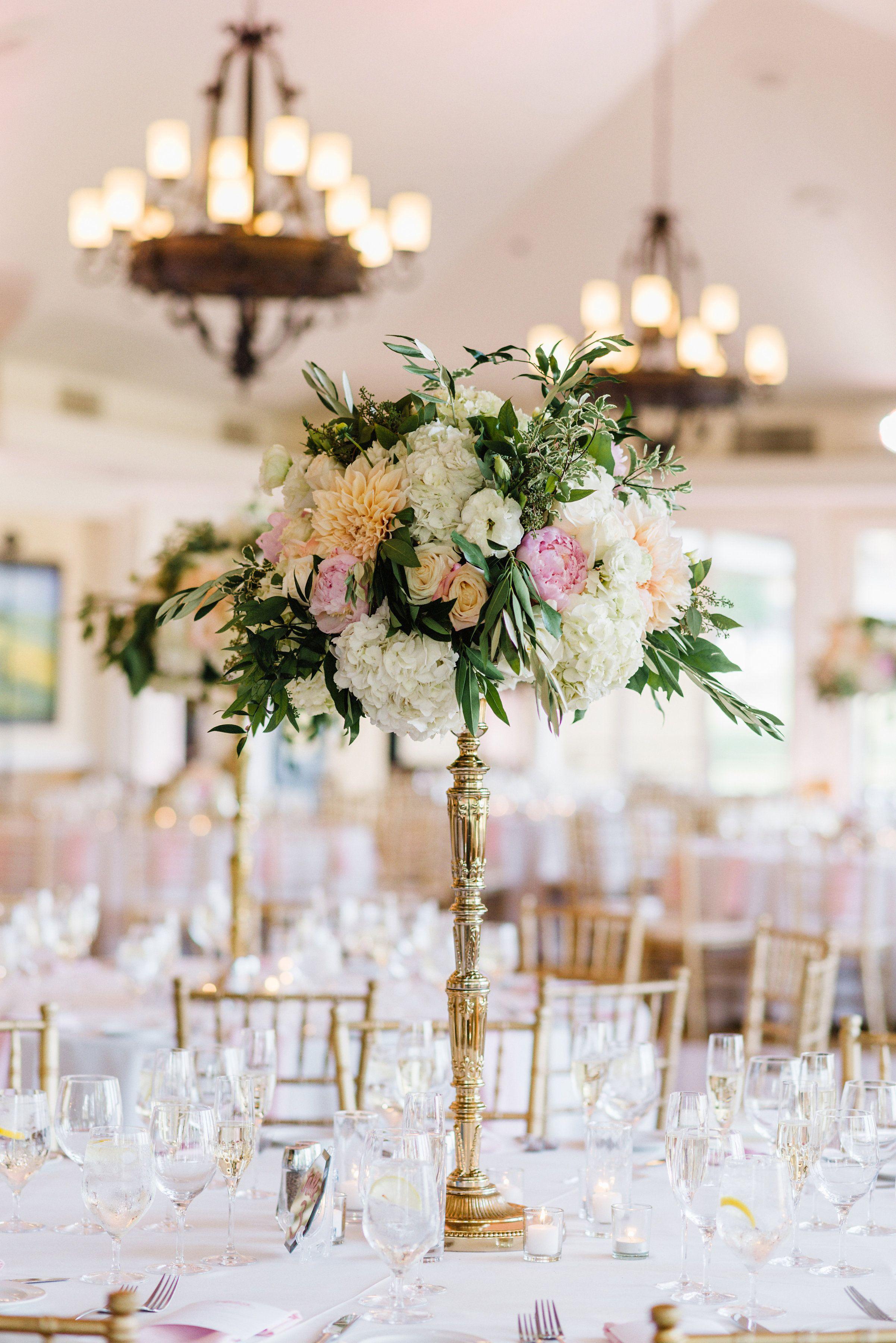 Tall Blush And Gold Centerpiece Dahlias Hydrangea Peonies Greenery Roses Bella Collina