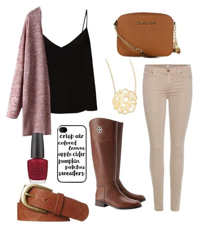 Today actually feels like fall by ctrygrl1999 on Polyvore featuring polyvore fashion style Raey 7 For All Mankind Tory Burch MICHAEL Michael Kors Jennifer Zeuner Rip Curl OPI clothing