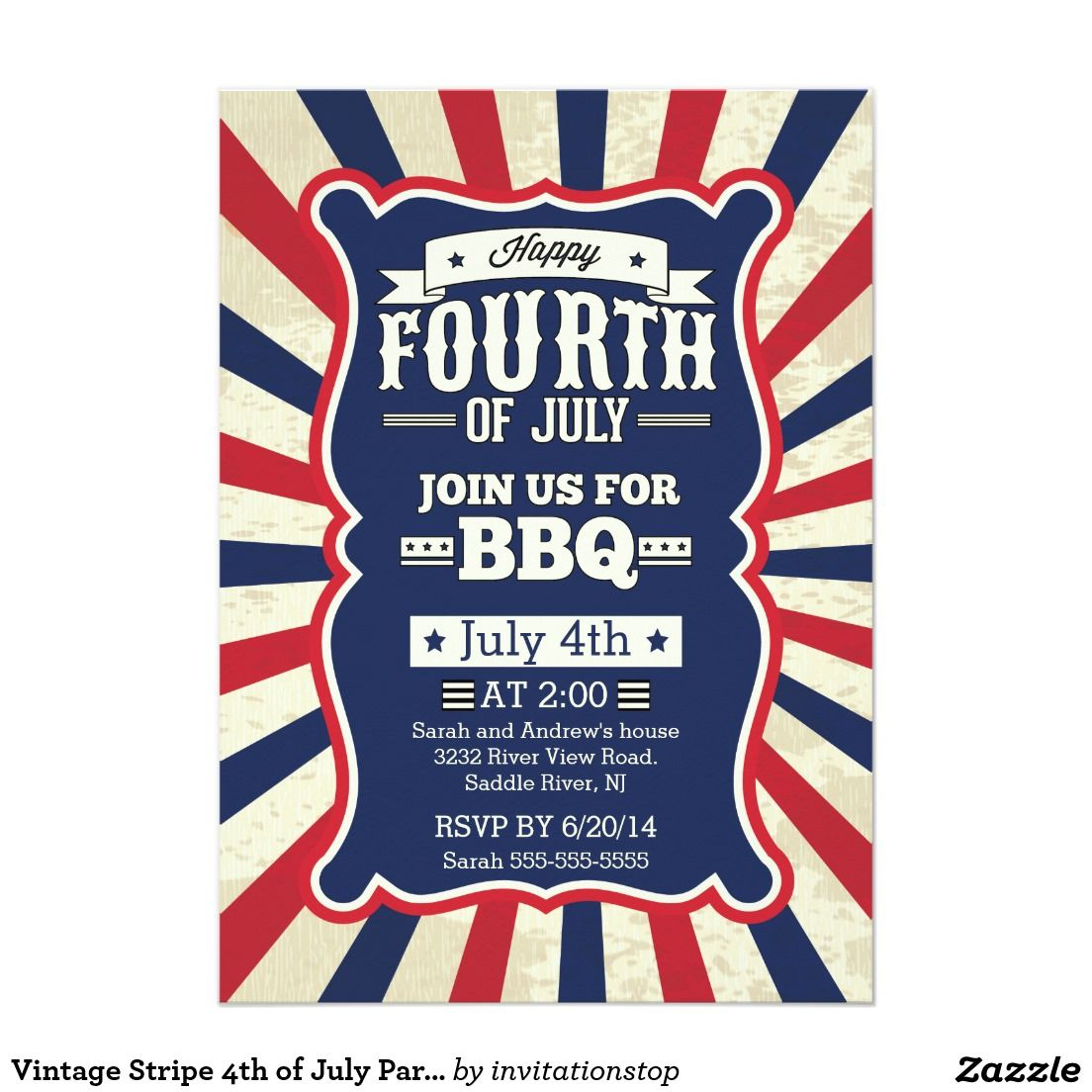 vintage stripe 4th of july party invitation in 2018 packed party