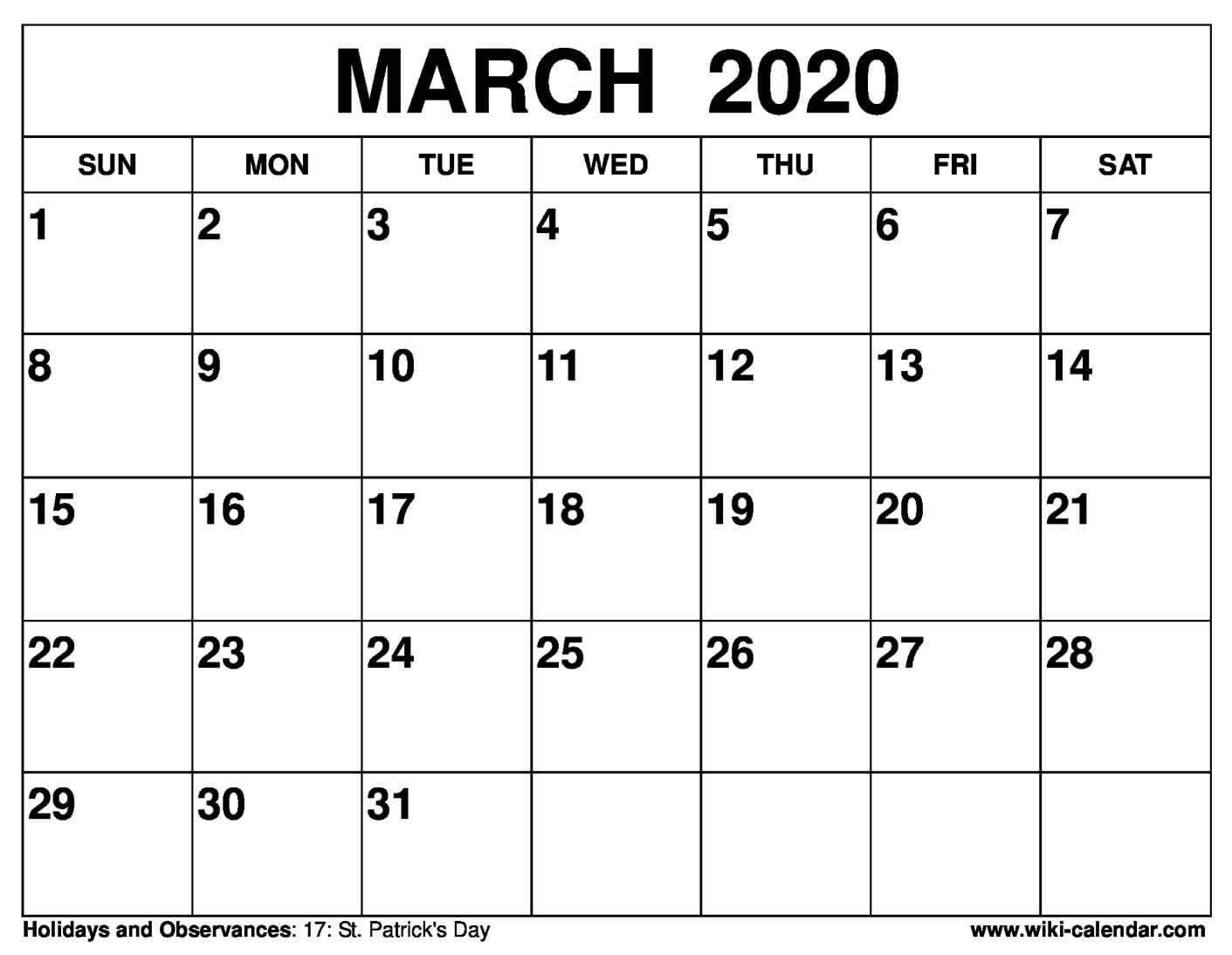 Free Printable March 2020 Calendars Calendar Printables
