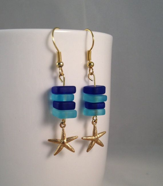 Nautical Sea Glass Starfish Earrings by IvyLouJewelry on Etsy, $16.00