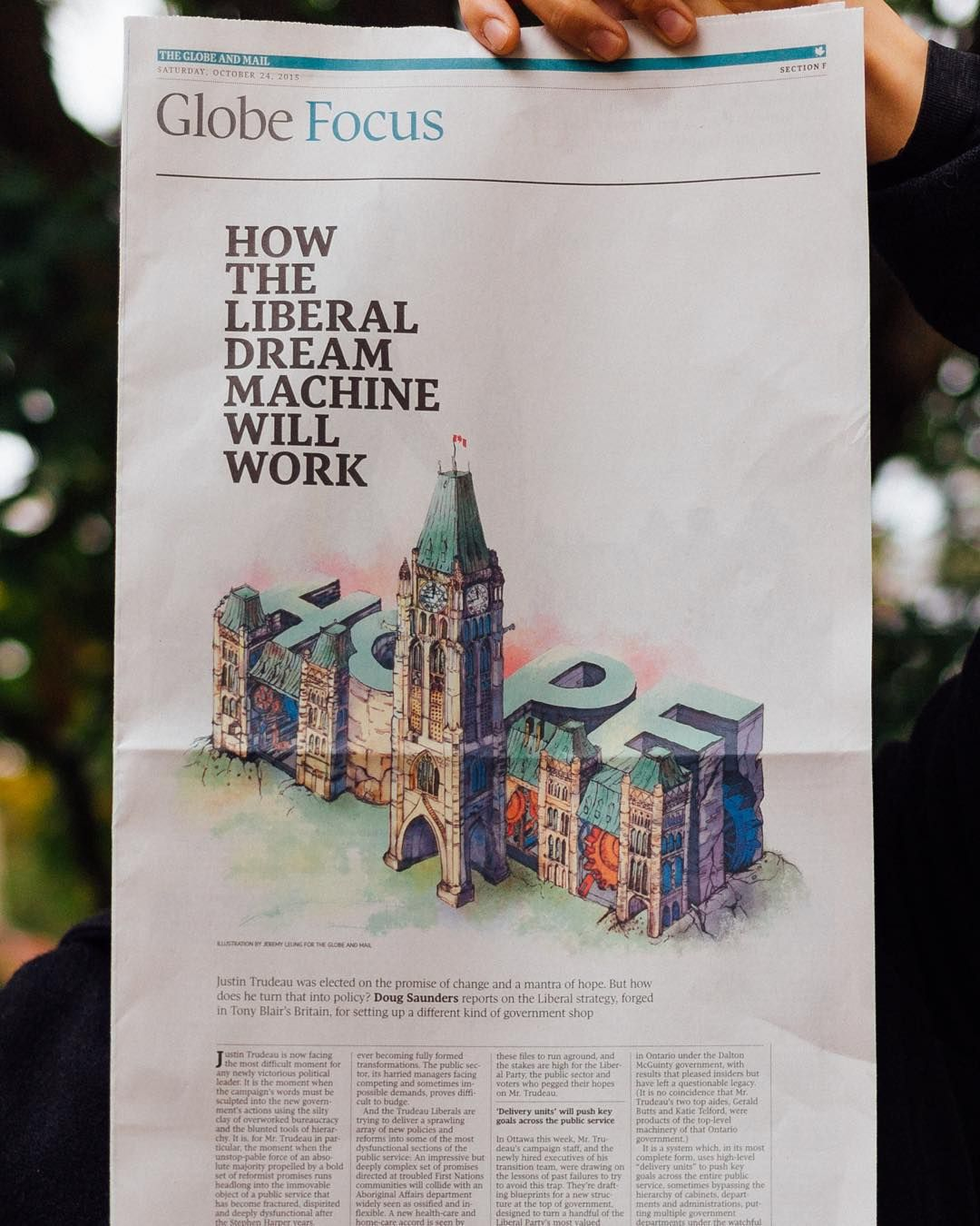 I'm on the front page of The Globe's Focus section today! An illustration on hope for this new age of a Liberal majority. Thanks to @globeartdept AD's Jason Chiu and Matt French for this very meaningful opportunity.