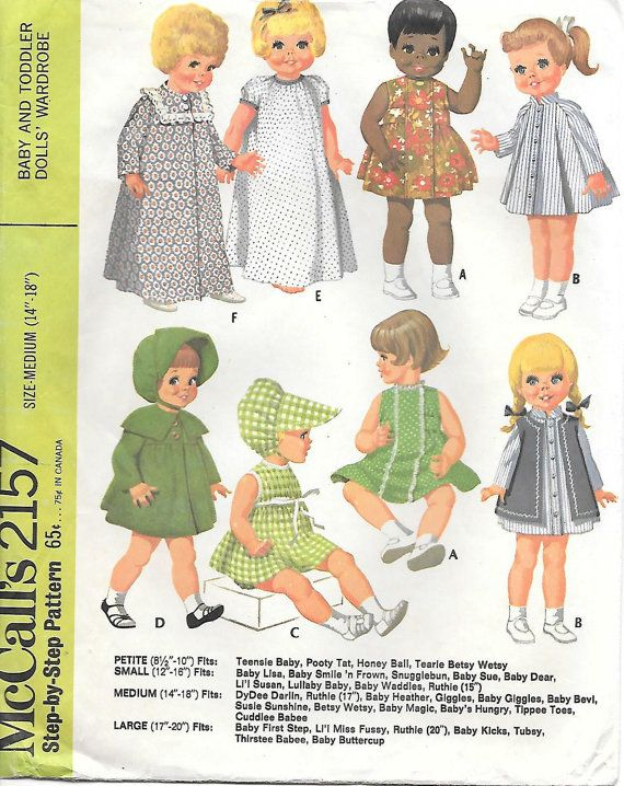 "Patsy Vtg 60s Toddler Little Girl Doll Clothing Pattern ~ 14/"" 15/"" Ruthie"