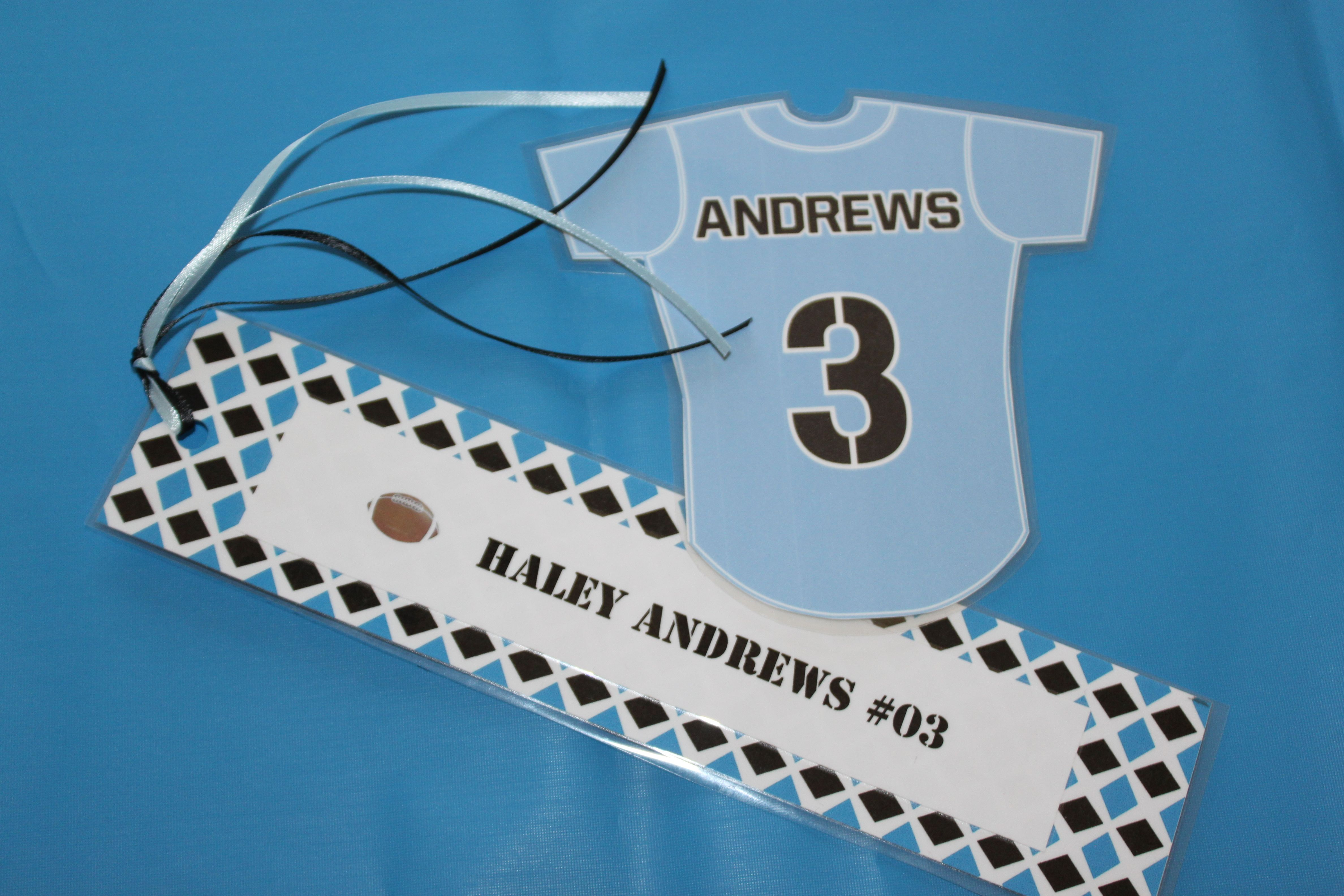 Flag football jersey locker magnet and bookmark for ...